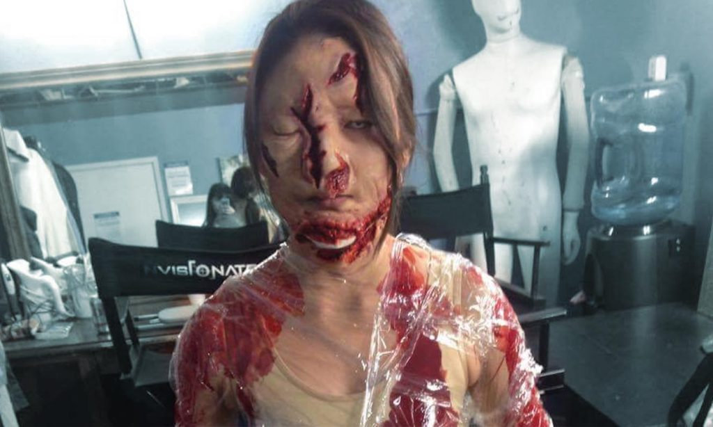 Hollywood special makeup on a girl for a horror film
