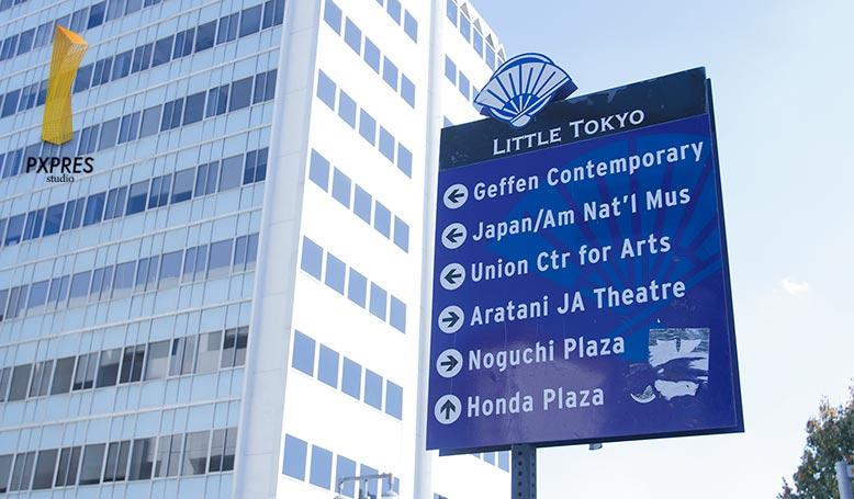 ロサンゼルス近くにあるリトル東京の観光案内板