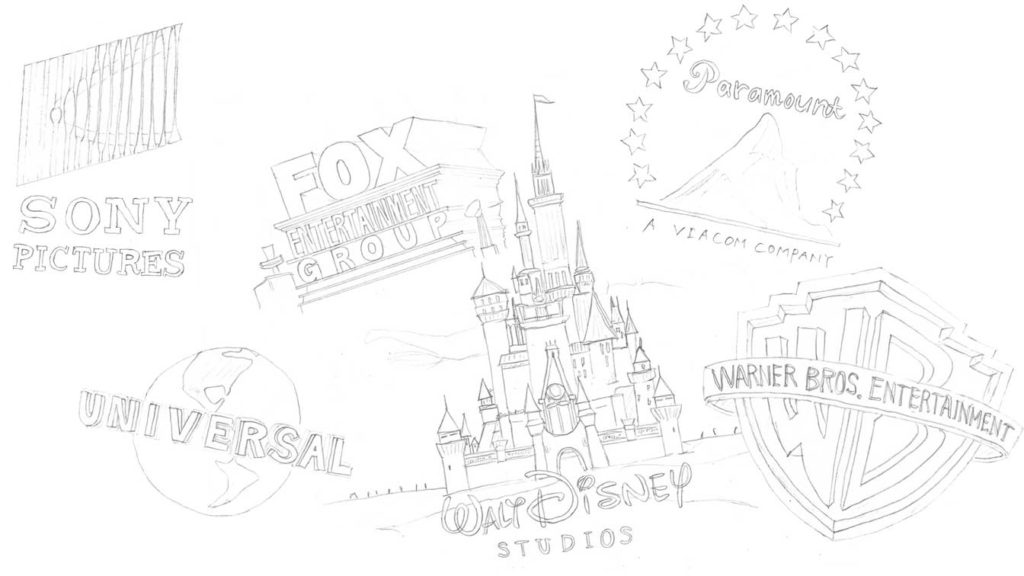 Sony universal fox paramount disney waner bros logo illustration by miki