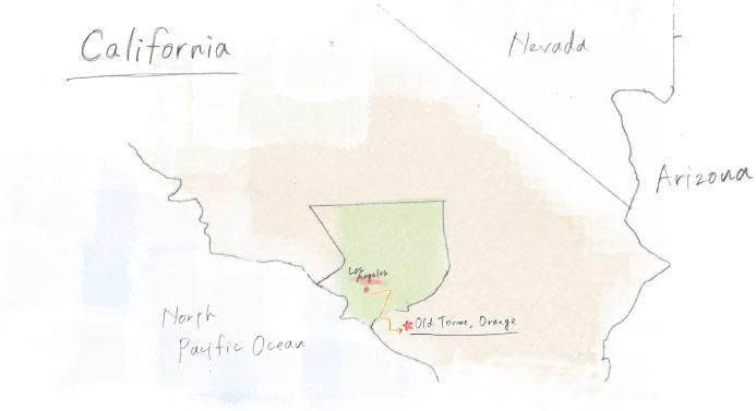 a map shows the direction la to orange